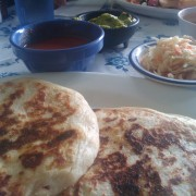 Pupusas filled with pork and cheese