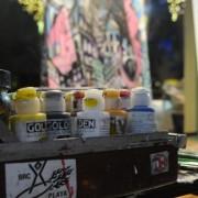 Paints: John Park's paintbox against the backdrop of his artwork