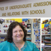 Rosa Pimentel in her office surrounded by pictures of her past students. Photo by Katrina Vo.