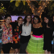Jeanelle Horcasitas, second from the right, amid colleagues and La Marisoul from La Santa Cecilia at her Getty internship at the Skirball Cultural Center.