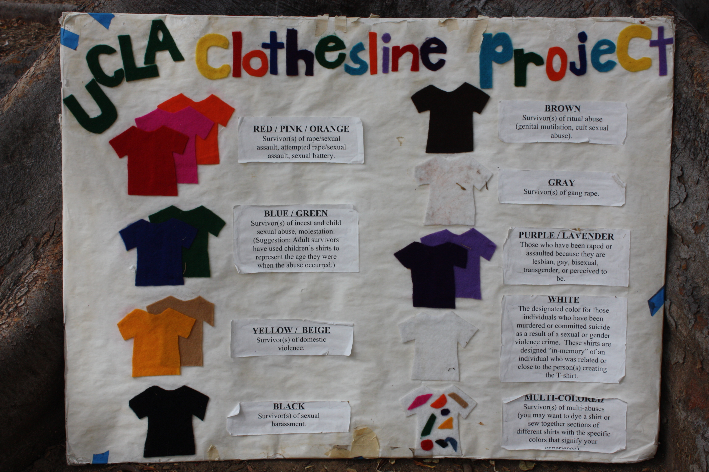 clothesline project The clothesline project is an artistic display to address the issue of violence against women and men it is a vehicle for women and men affected by violence to express their emotions by decorating a shirt they then hang the shirt on a clothesline to be viewed by others as testimony to the problem of violence against women and men this is an opportunity for survivors to.
