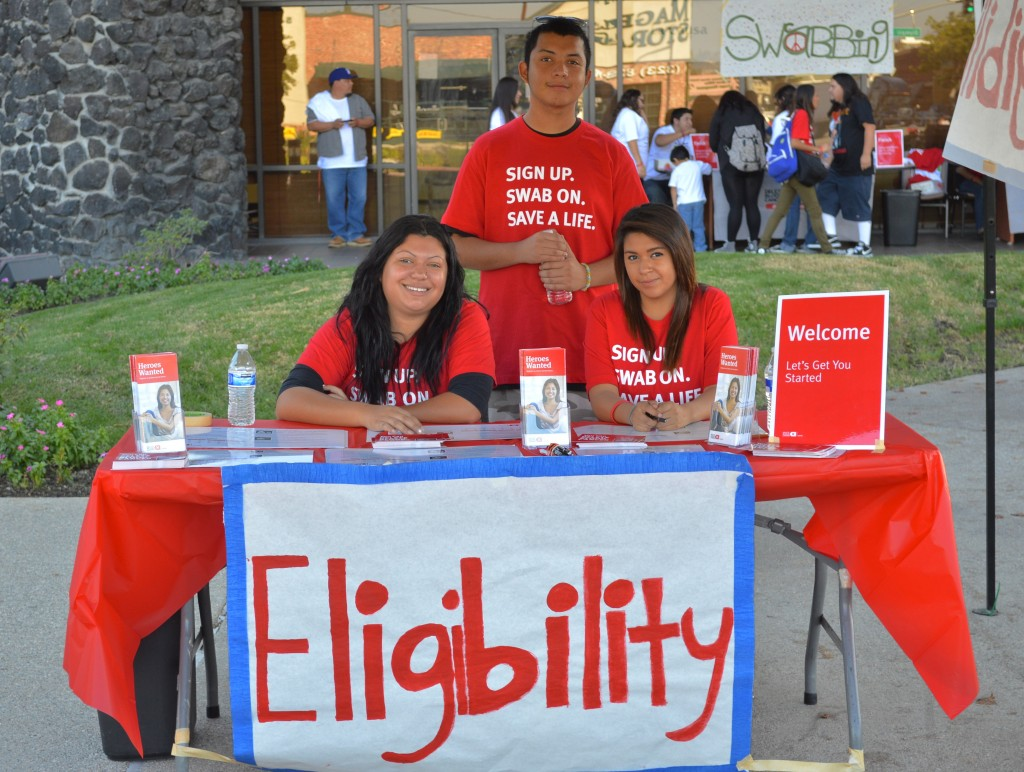 Students welcome participants, and check donating eligibility.