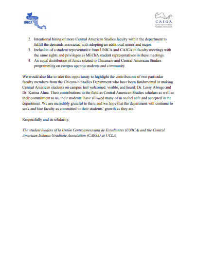 UNICA/CAIGA Letter in Support of the Name Change of the UCLA Chicana/o Studies Department
