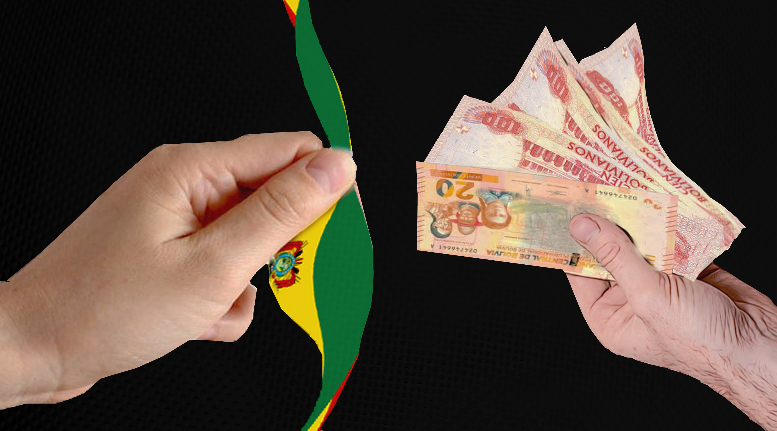 graphic depicting two hand exchanging the Bolivian flag for money