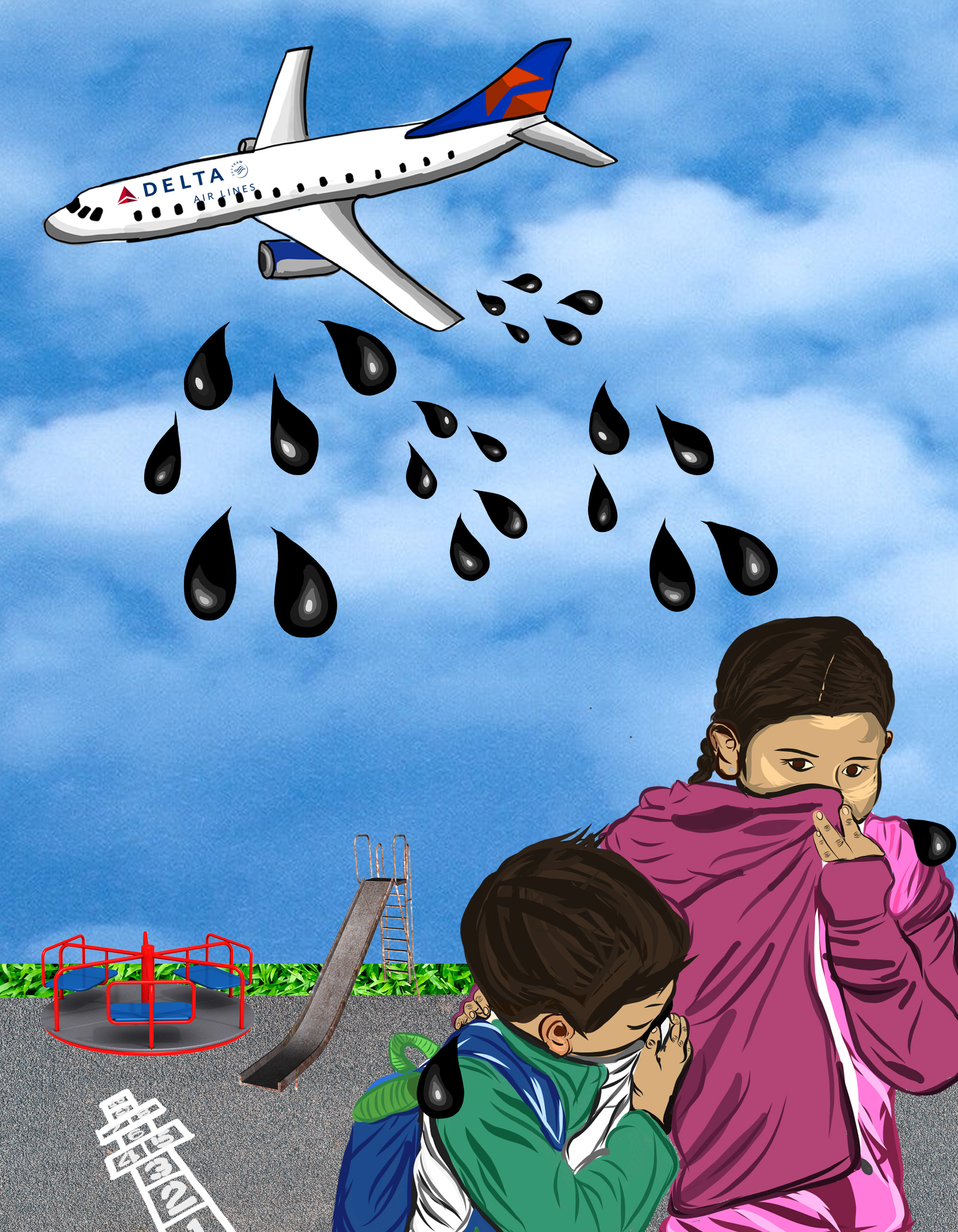 image of young children covering their mouths as they flee from oil being spilled on them from plane