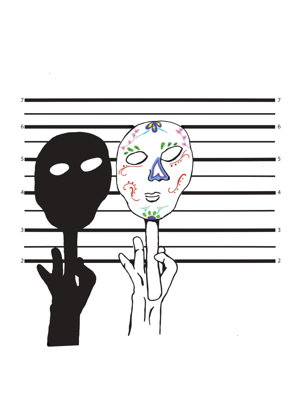 image of hand holding up a mask and a shadow of hand holding mask and line-up wall behind it