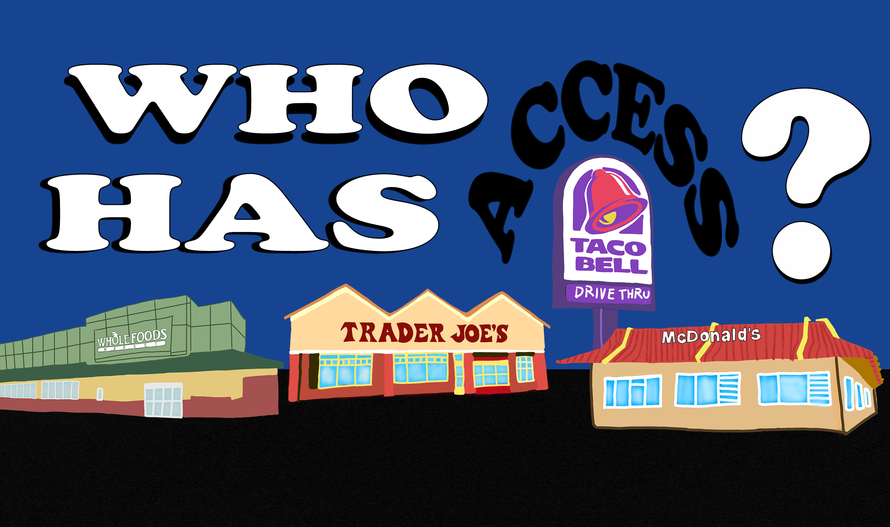 digital illustration of Whole Foods, Trader Joe's, and Taco Bell with the question Who Has Access? on top