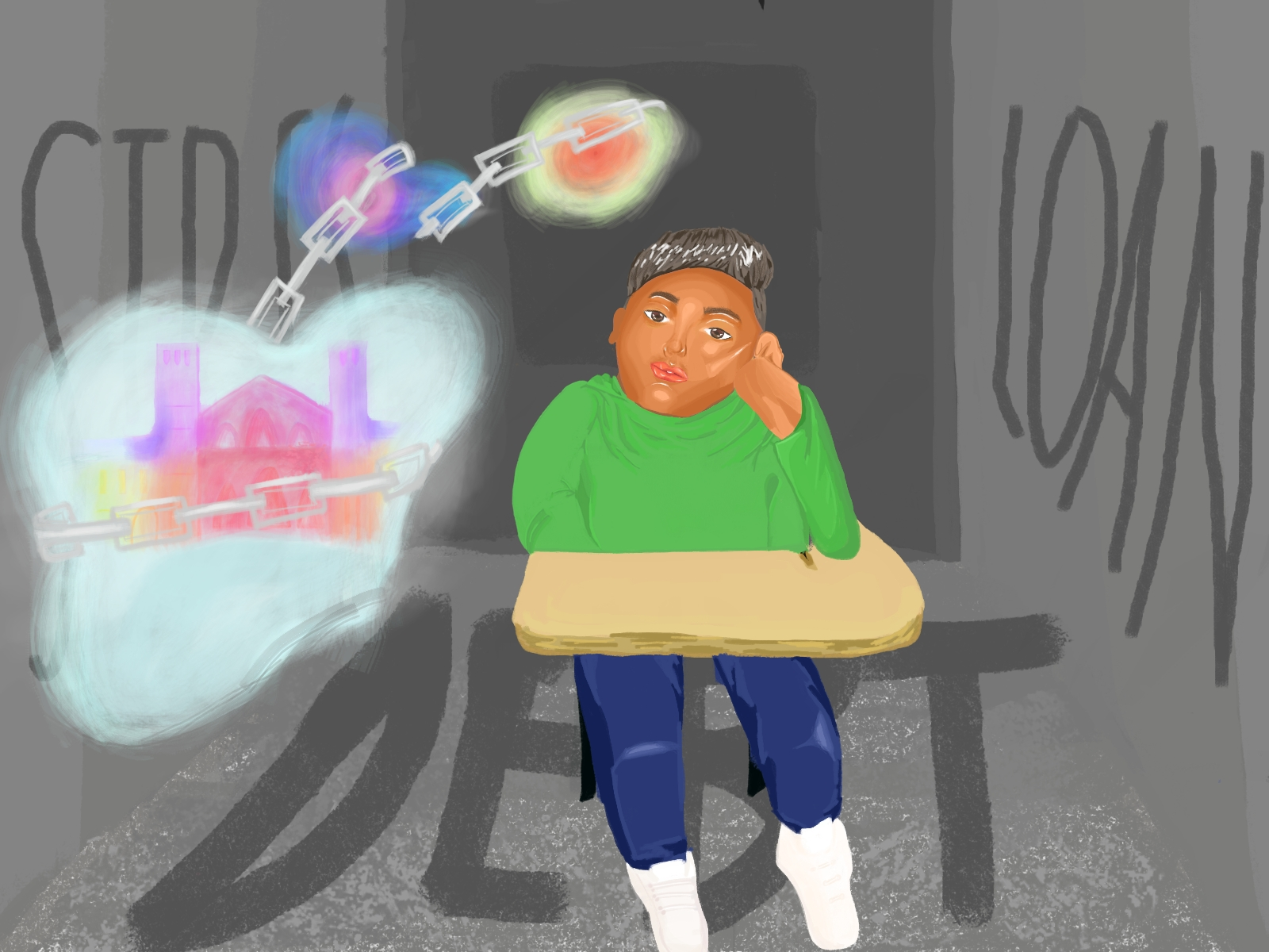 illustration of boy sitting at desk with image of Royce Hall in a dream bubble