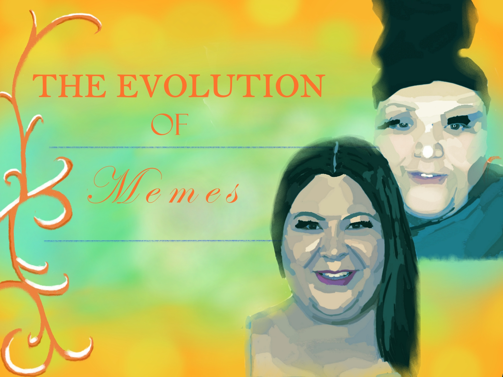 "illustration of Raini Rodriguez and ""Rosa"" (aka Adam Martinez)"