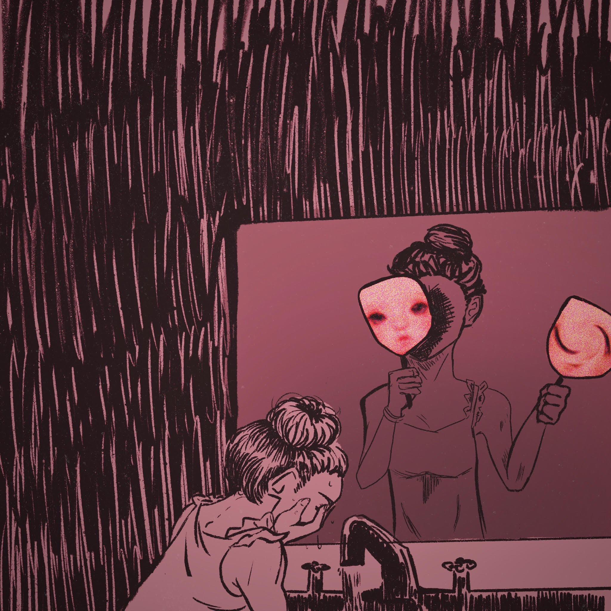 illustration of young girl crying in the mirror